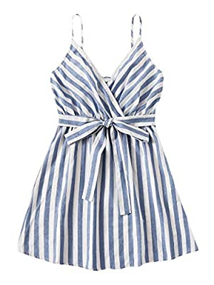 Fabric: No stretch, breathable, lightweight, soft and comfy cotton Design: Striped, belted, high waist, fit and flare, surplice v neck, spaghetti strap and sleeveless for women Occasion: Suit for vacation, beach, go out wearing and casual wear, fit f...