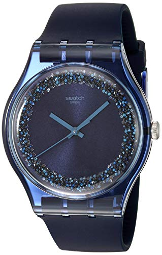 Swatch Herren Analog Quarz Uhr mit Silikon Armband SUON134