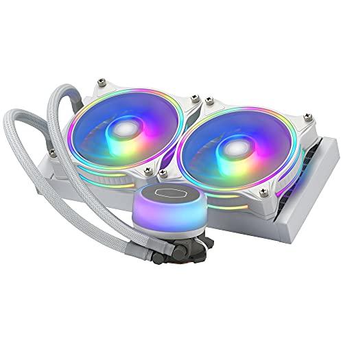 Cooler Master MasterLiquid ML240 Illusion Edizione White CPU Liquid Cooler, Dissipatore ad Acqua AIO, Pompa 3 Gen, 2 Ventole Halo ARGB 120 mm, Radiatore 240 mm, Controller ARGB, Compatibile AMD/Intel