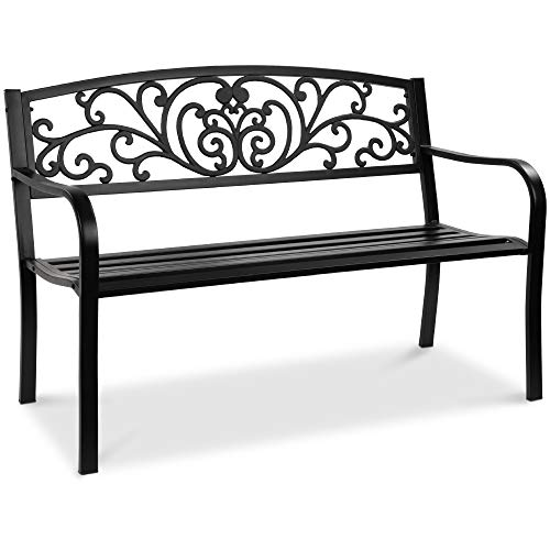 Best Choice Products 50in Steel Garden Bench for Outdoor, Park, Yard,...