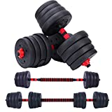 JOOYHOOM 66LB Dumbbell Barbell Weights Set, Dumbbells Barbell 2-in -1 Set, Solid Free Adjustable Weights Dumbbells for Workout.Dumbbells Set with Rod As Barbell Bars,for Home Gym & Office
