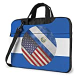 Retro America and El Salvador Flag Laptop Bag Bandolera Bolso para computadora Maletín Bolso Bandolera Inclinado 15.6 Pulgadas