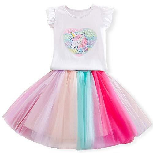 TTYAOVO Vestido de Princesa Unicorn para Niña Conjunto de Trajes de Verano Unicornio de Manga Corta, Camiseta Vestido de Tul 4-5 Años Camiseta Unicornio + Vestido Rainbow Tulle