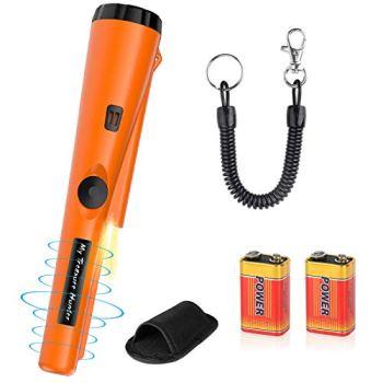 Détecteurs de Métaux avec 2 Piles Pinpointer Portable Sonde IP66 Étanche Trésor Chasse Outil Suzzer Vibrations Automatique pour Enfant Adulte Débutant