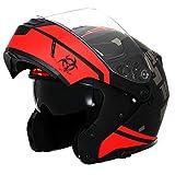 Triangle Motorcycle Helmets Modular Dual Visor Flip Up (Large, Matte Black/Red)