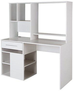 South Shore Narrow Home Office Computer Desk with Hutch, Pure White
