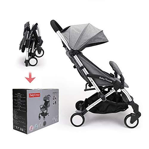 Passeggino Leggero Babythrone Pieghevole Passeggini Compatto da Viaggio fino a 25 kg (Grigio)