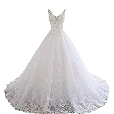 Women's Sleeveles Lace Appliques Beaded Wedding Dresses for Bride with Train Straps tulle Long Brida ball Gowns This wedding dress is elegant¡gorgeous and charming. It is great for beach wedding, garden wedding or a chapel wedding etc. Size: Please r...