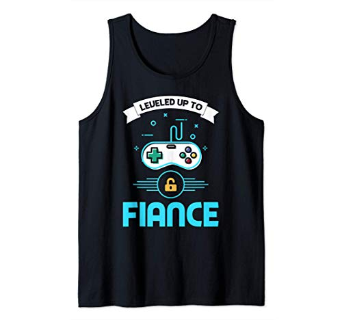 Leveled Up To Fiance Vintage Retro Newly Engaged Couple Tank Top