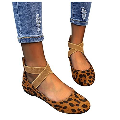 Bailarinas clásicas para mujer, zapatos de verano de leopardo, para tiempo libre, planas, zapatos cerrados, cómodos, para verano, sin cordones, para mujeres