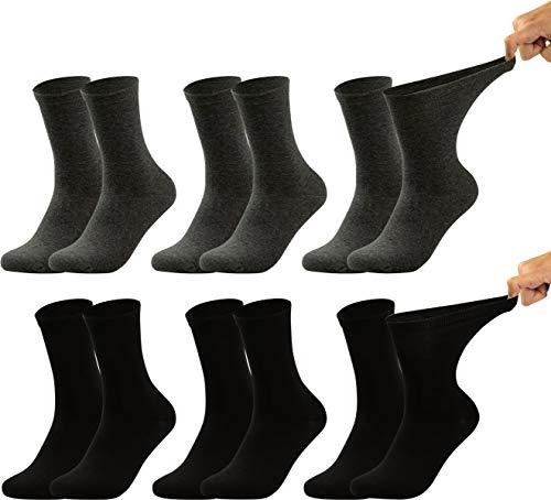 Vitasox 31120 calzini da uomo extra larghi in cotone, calzini sanitari sensibili completamente privi di gomma e di cuciture, pacco da 6, nero antracite, 43/46