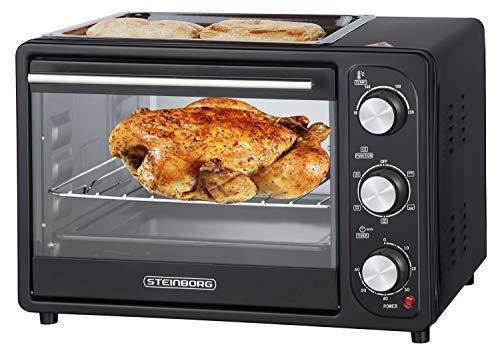 3in1 Mini Backofen 20 Liter mit Umluft inkl. Warmhalteplatte | Minibackofen | Pizza-Ofen | Krümelblech | zuschaltbare Umluft | Temperatur 100-230°C | abnehmbare Grillplatte | 60 min.Timer | 1300W