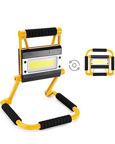 Elekin Faro LED Ricaricabile,Faretto Portatile,Faretto Pieghevole LED da Esterno,Impermeabile IP65 Faro LED Bianco 6000K,4 Modalit, Rotazione 360,Lampada Luminosa con Cavo USB