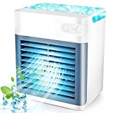 Portable Air Conditioner, Rechargeable Evaporative Mini Air Conditioner with 3 Speeds 7 Colors, Personal Air Cooler Fan for Home, Office and Room