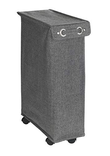 WENKO Wäschesammler Corno Prime - Wäschekorb mit Deckel Fassungsvermögen: 43 l, 18 x 60 x 40 cm, schwarz/weiß gemustert