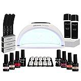 Kit Manucure Semi-Permanente I 6 Vernis à Ongles et Lampe UV/LED 48W I Coffret...