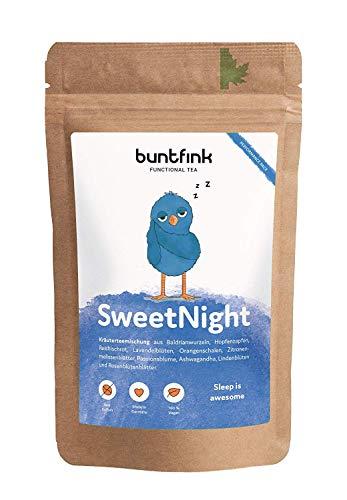 """Buntfink """"SweetNight"""" Abend-Tee mit Baldrian + Hopfen + Reishi + Ashwagandha, 100% natürlicher Kräutertee aus Deutschland, 60g loser Tee"""