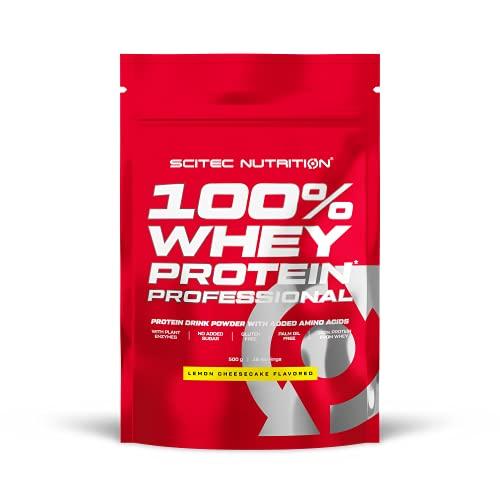 Scitec Nutrition 100% Whey Protein Professional con aminoácidos clave y enzimas digestivas adicionales, sin gluten, 500 g, Limón-Tarta de queso