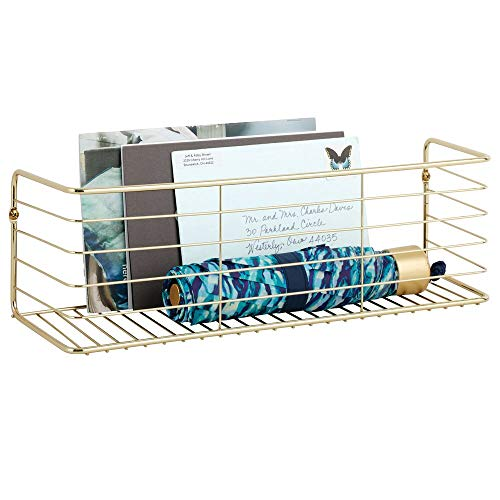 mDesign Wide Metal Wall Decor Storage Organizer Display Shelf - Store Mail, Cards, Decorations, Umbrellas - Hang in...