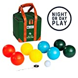 tenalach LED Glow-in-The-Dark Bocce Ball Game | Includes 8 LED-Lit Bocce Balls, LED-Lit Pallino or Jack Ball, Measuring Tape, Premium Canvas Carrying Case