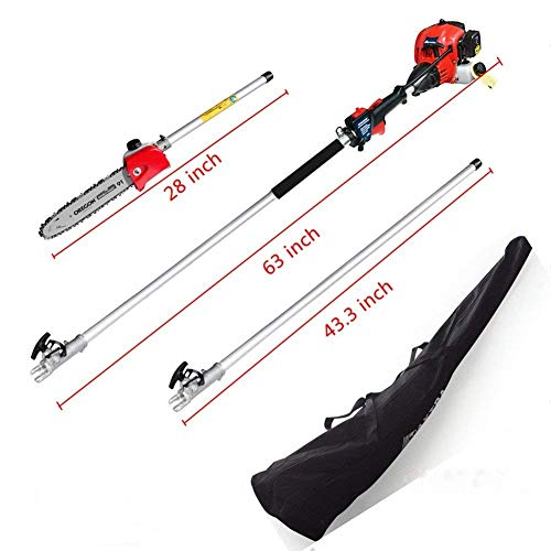 Pole Saw,Powerful Gas Pole Chainsaw 42.7CC 2-Cycle 8.2 FT to 11.4 FT Cordless Extension Pole Saw Tree Trimmer Long Reach Saw with Carry Bag