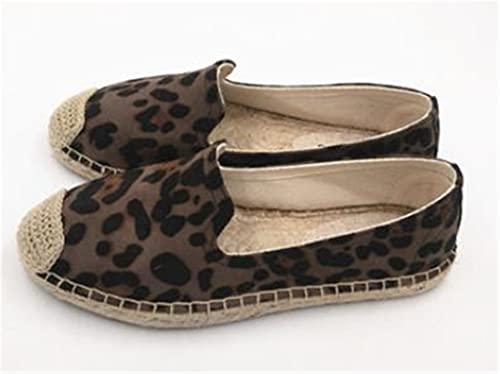 huleiy Alpargatas con Estampado De Leopardo Cómodas Zapatillas Casuales para Mujer Lona De Cáñamo De Lino Transpirable para Niñas Gray 9