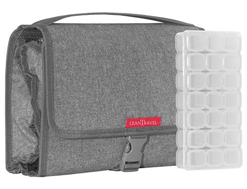 LeanTravel Hanging Toiletry Bag for Travel w/ 5 Pockets & 7 Day Plastic Pill Case Organizer
