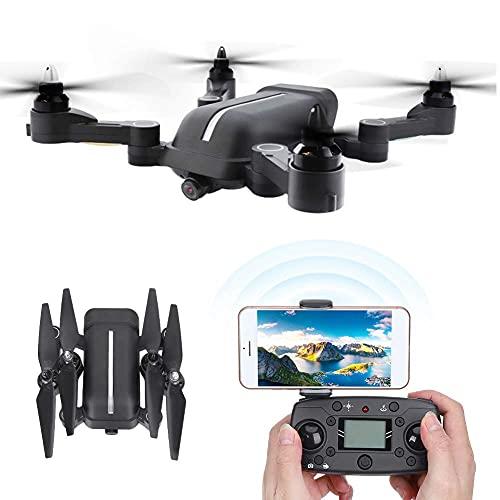 Drone, GPS Drone 4K Telecamera ad Alta Definizione Motore Brushless Pieghevole Drone RC Quadcopter con Trasmissione in Tempo Reale a Doppio Dato