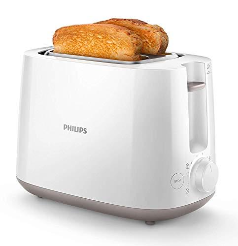Philips HD2581/00 Toaster, integrierter Brötchenaufsatz, 8 Bräunungsstufen, weiß