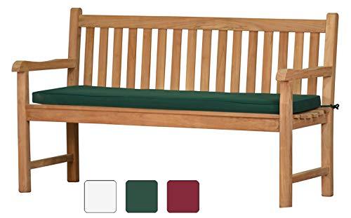 Grüne Bankauflage Kanaria - 150 x 47 cm ✓ Bank-Polster aus 100{e8b11d7760083ccd7b863d3e1f0aa4e4f50e9c84398f98f798a2b07f7f691432} strapazierfähigem Polyester ✓ 6 cm dick, bequemes Bankkissen ✓ Polster-Auflage als Sitzpolster & als Gartenbank-Auflage ✓ Pflegeleicht