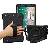 iPad 5th/6th Generation Cases with Hand Strap,Heavy Duty Rugged Protective Shockproof Cover with 360 Degree Rotating Stand/Shoulder Strap for Kids,iPad 9.7 2017/2018 Case,A1893/A1954/A1822/A833,Black