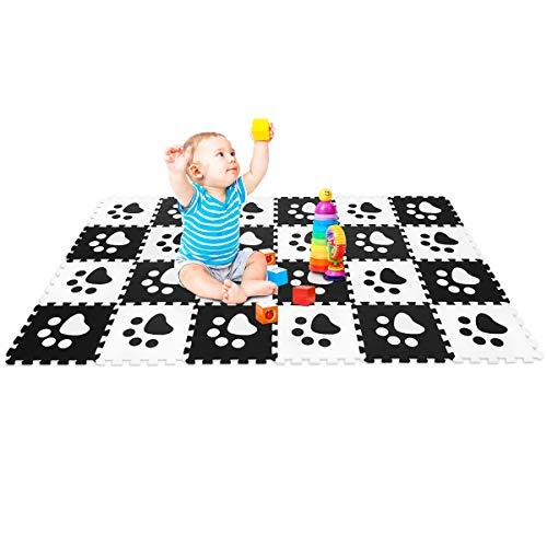 Goplus Tappetino Puzzle di 24 PCS in Eva per Bambini Bianco e Nero 30x30x1cm