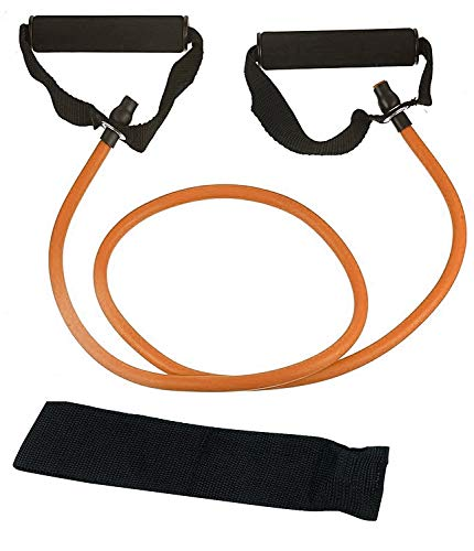 airavat 120 cm Pull Rope Rubber Exerciser Toning Tube Resistance Tube with Foam Handles and Door Anchor (Level 2 (13 kg - 16 kg))