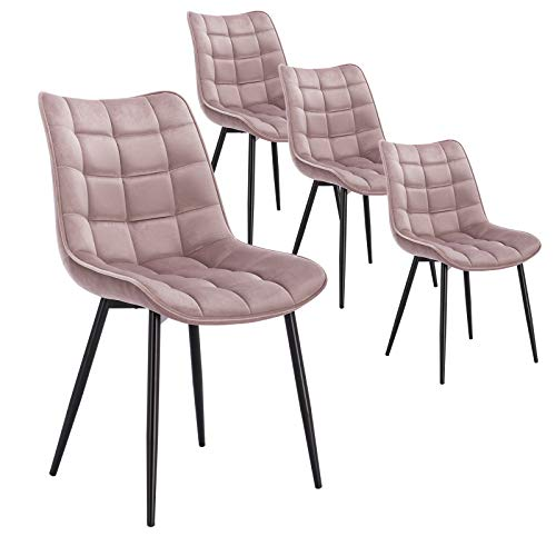 WOLTU 4 x Esszimmerstühle 4er Set Esszimmerstuhl Küchenstuhl Polsterstuhl Design Stuhl mit Rückenlehne, mit Sitzfläche aus Samt, Gestell aus Metall, Rosa, BH142rs-4