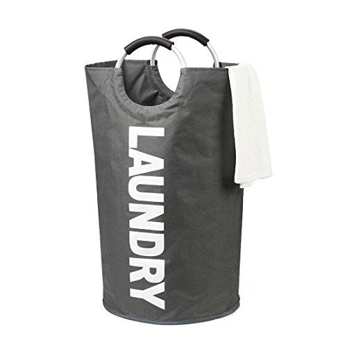 DOKEHOM 82L Großen Faltbare Wäschekörbe (6 Farben), Zusammenklappbaren Wäschesäcke, Kleider Tasche (Dunkelgrau, L) EINWEG
