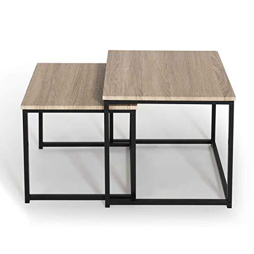 IDMarket - Lot de 2 Tables Basses gigognes Detroit 40/45 Design Industriel