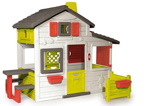 Smoby – Friends House - Spielhaus für Kinder für drinnen und draußen, mit Sitzbank, Türklingel, Fenstern. Gartenhaus für Jungen und Mädchen ab 2 Jahren