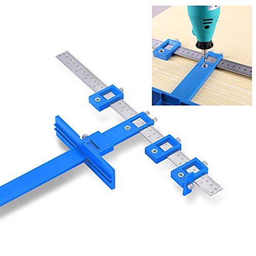 QEARLIZ Cabinet Hardware Jig, Adjustable Punch Locator Tool Cabinet Door Jig for Handles and Knobs on Doors and Drawer Installation