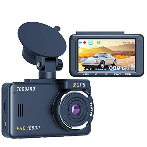 TOGUARD Dash Cam Built-in GPS 1080P Full HD Dash Camera for Cars Recorder 3'' LCD 170 Wide Angle Mini in Car Camera with G-Sensor, Loop Recording, Motion Detection, 24H Parking Monitor and HDR