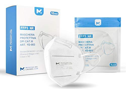10 Mascherine FFP3 Certificate CE, Mascherina 5 Strati Senza Valvola, Maschera Facciale Protezione da Polvere e...