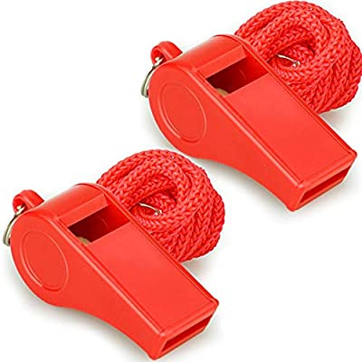 PACKAGE--- 2PCS plastic whistles with lanyards. These red whistles are eye-catching. You and your red whistles will be noticed easily in any situation. Perfect for lifeguard, self-defense and emergency. LOUD CRISP SOUND--- The whistles sound loud and...