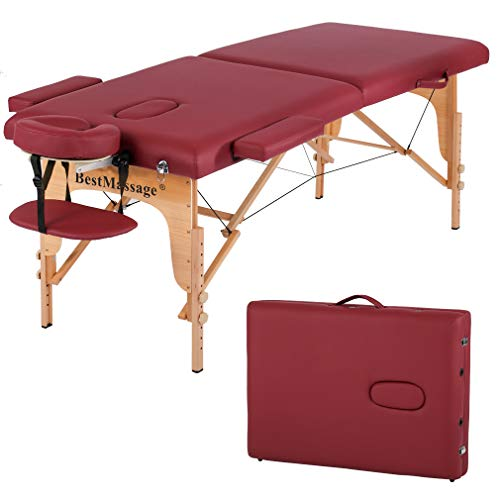 Massage Table Massage Bed Spa Bed PU Portable 84 Inches 2 Fold Heigh Adjustable Massage Table Bed w/Free Carry Case Facial Cradle Salon Tattoo Bed