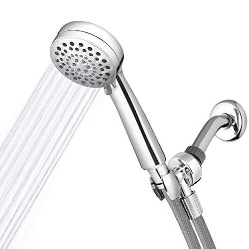 Waterpik High Pressure Shower Heads with Handheld PowerSpray+ Detachable 6 Spray Settings and 5' Hose, Chrome, VLR-643