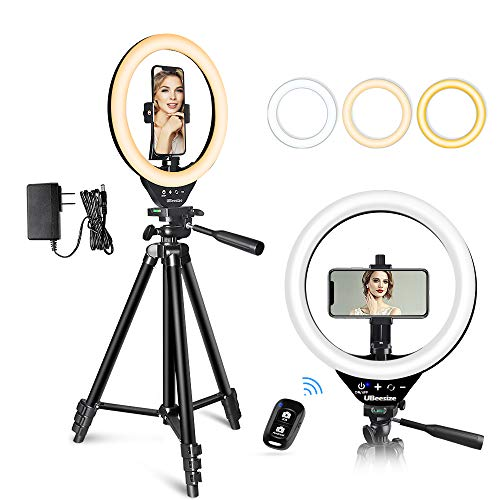 10 LED Ring Light with Stand and Phone Holder, UBeesize Selfie Halo Light for Photography/Makeup/Vlogging/Live Streaming, Compatible with Phones and Cameras (2020 Version)