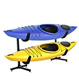 RaxGo Freestanding Kayak Storage Rack, Heavy Duty Storage for Two-Kayak, SUP, Canoe & Paddleboard for Indoor, Outdoor, Garage, Shed, or Dock, Adjustable Height