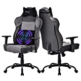 Big and Tall Massage Gaming Chair - Memory Foam Lumbar Cushion and Headrest, Adjustable Arms and Backrest High Back PC Racing Office Computer Desk Ergonomic Swivel Task Chair, Gray/Black