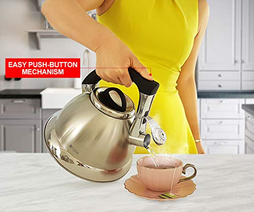 Product Image 4: Whistling Tea Kettle with iCool - Handle, Surgical Stainless Steel Teapot for ALL Stovetops, 2 FREE Infusers Included, 3 Quart by Pykal