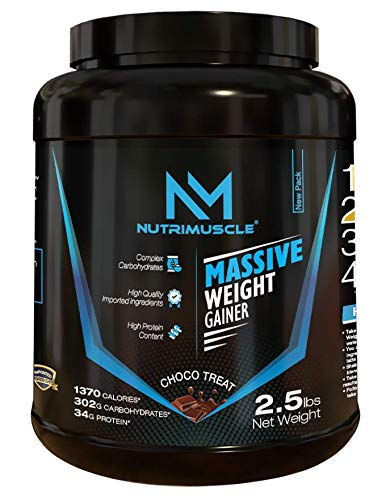 NUTRIMUSCLE MASSIVE WEIGHT GAINER - 2.5 LBS - 1.134 KGS - CHOCO TREAT FLAVOUR - FOR MUSCLE AND MASS GAIN - MADE IN INDIA