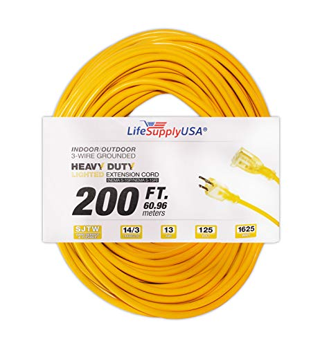 LifeSupplyUSA 14/3 200ft SJTW 13 Amp 125 Volt 1625 Watt Lighted End Indoor/Outdoor Extension Cord (200 feet)