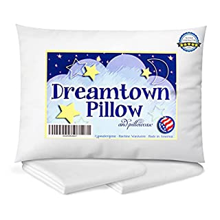 """Chiropractor recommended as """"perfect first pillow!"""" Size: 14in x 19in. Not too small, not too large. Contains less filling than most toddler pillows to prevent neck kinks or chiropractic visits. Comes with perfectly fitting white pillowcase. Makes fo..."""